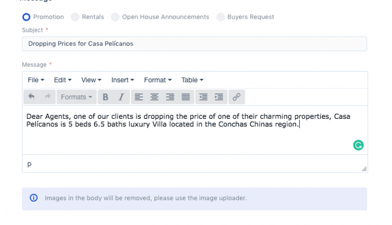 Sending emails to other MLSVallarta Members
